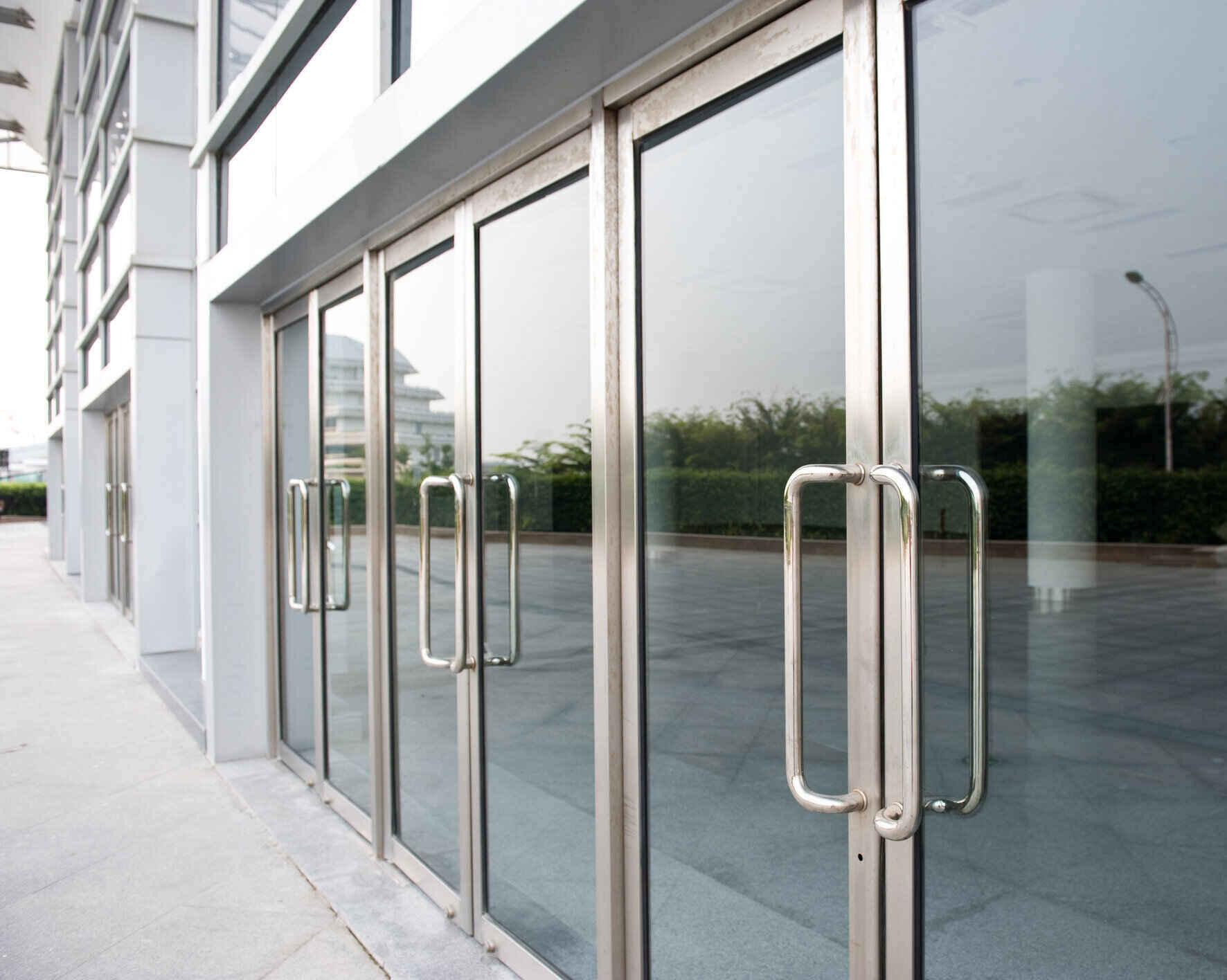 glass door of the office building.